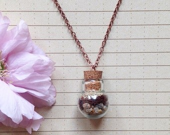 Round Terrarium Necklace with colors of the earth