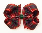 Fraser Plaid Hair Bow, Fraser of Lovat Tartan Bow, 4 inch Hair Bow, Frazer Highlander, Red Green Navy, Scottish Festival Outlander Cosplay