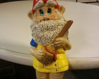 Hand Painted Ceramic BBQ Gnome