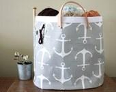 Hey Sailor! Knitting tote, knitting bag, canvas tote
