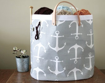 "Knitting bag, Knitting basket, canvas tote - ""Hey Sailor"""