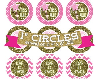 Pink Princess Crowns Digital Collage Sheet Bottlecap Images Gold Glitter Instant Download Bottle Cap Graphics One Inch Circle