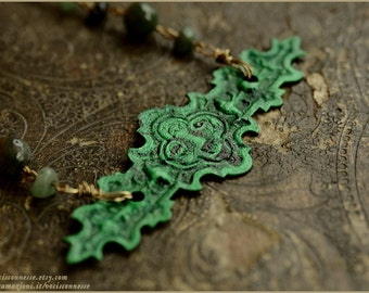 Green Man necklace - original painting and Moss Agate and aventurine beads - illustrated jewelry