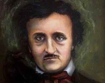 Original Oil Painting of Edgar Allan Poe w Raven