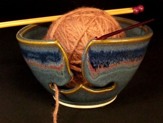 Pottery Yarn Bowl - Yarn Bowl Ceramic - Yarn Basket - YarnBowl - Yarn Storage - Yarn Ball Holder - Blue Yarn Bowl - Gift for Women -InStock