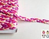 Trim, braid, braid trim, pink, purple, violet, yellow, trims, fabric trim, ribbon, card decoration, 1 yard, 90 cm, 3/8 inch wide, 1 cm