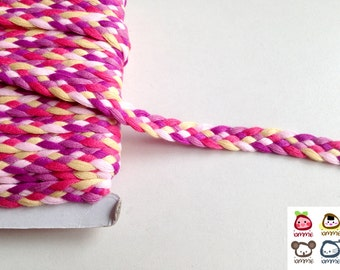 Trim, braid, braid trim, pink, purple, violet, yellow, trims, fabric trim, ribbon, card decoration, 1 yard, 90 cm, 3/8 inch wide, 1 cm