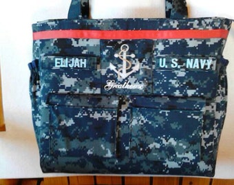 Anchor Navy Diaper Bag custom embroidery and personalized colors for embroidery, lining and ribbon custom bag as you like it.