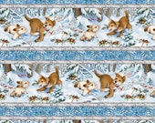 Quiet Bunmy and Noisy Puppy Repeating Stripe Cotton Fabric by Lisa McCune for Wilmington Prints