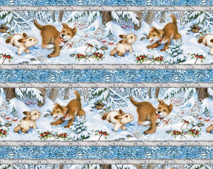 Children's Fabric from Quiet Bunmy and Noisy Puppy Repeating Stripe Cotton Fabric by Lisa McCune for Wilmington Prints