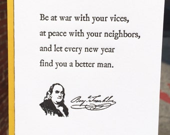 Letterpress Greeting Card - Ben Franklin Quote - PA HERITAGE COLLECTION (single)