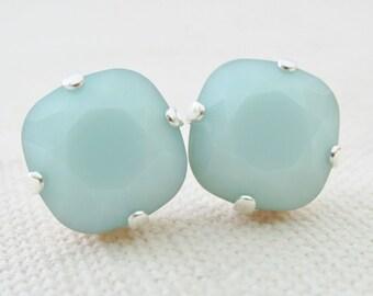 Mint Green Stud Earrings,Swarovski Crystal Alabaster Mint Earrings,Square Green Studs,Bridesmaid Jewelry