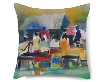 Decorative pillow cover, family reunion art, african american art, black art, housewarming gift, pillow for couch, throw pillow 18x18, art