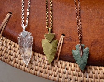Arrowhead Necklace | Flint Stone Tribal Necklace made to order Customizable