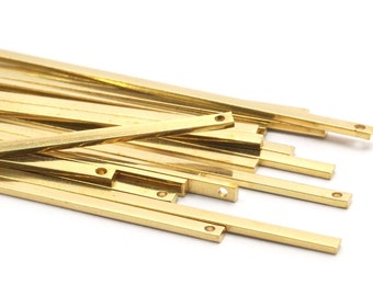 Brass Bar Charm, 25 Raw Brass Bars (60x2x1mm) Bs-1355 A0868