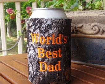 World's Best Dad Mossy Oak can cozy.  Dad camo can cozy.