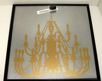 Gold Chandelier .. Magnet Dry Erase Steel Memo Board / Office Decor / Wall Decor / Organization / Desk / Housewarming Gift / Modern Decor