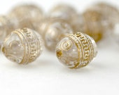 Vintage Beads Lucite Gold Crystal Etched Oval Beads 14mm (10)