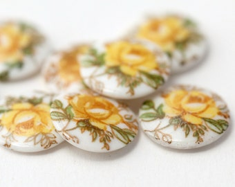 Vintage Japanese Porcelain Cabochons Yellow Rose Flower Cabs 10mm (8)