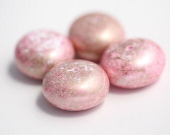 Vintage Opaque Pink Gold Saucer Rondelle Spacer Beads Chunky 28mm (4)