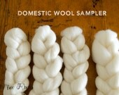 Domestic Wool Sampler - Undyed Combed Top Roving for Spinning or Felting - 4 oz