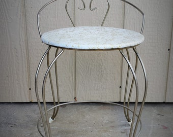 1950's Gold Hollywood Chic Vanity Chair Stool with Vinyl Seat