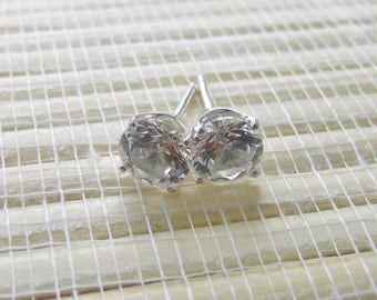 White Sapphire Studs Sterling Silver Lab Created 6mm