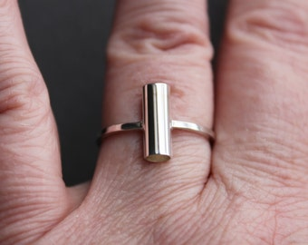 Sterling Tube Ring, Industrial, size 8.75 US CANADA - Totally tubular