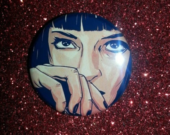 Pulp Fiction Powder Room Mrs. Mia Wallace  1.25in button pin badge