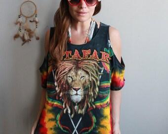 Rastafari Lion Zion Dreads Rasta Reggae Eco Friendly Cut Out Off The Shoulder OOAK Upcycled Tshirt/Tee/Top/Shirt Womens Red Green Yellow