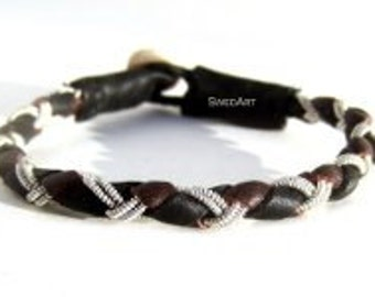 SwedArt B18 Rope Lapland Sami Reindeer Leather Bracelet with Antler Button, Gilles Marini and Other Male Celebs, Black/Dark Brown X-SMALL