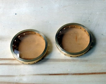 1 set of high quality crafted rims for DIY steampunk brass goggles with UVA/UVB lenses