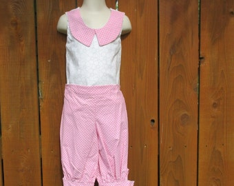 Pink And White Polka Dot Outfit , Knickers Outfit , Size 5 Capri Pants And Top