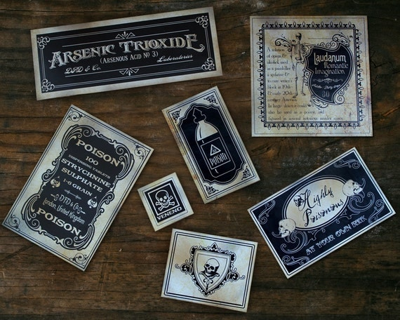 Halloween Stickers, Poison Skeletons, Skull Stickers, Bottles Victorian Cabinets PART 3