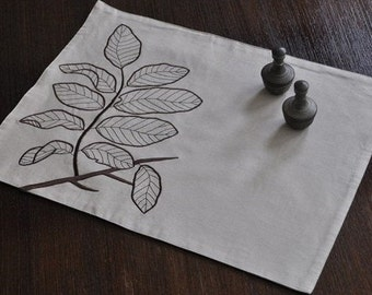 Branch Linen Placemats Set of 4, Oatmeal Linen Dark Brown Leaf, Embroidered Linens, Table Linen, Fabric Placemats, Dining Textile
