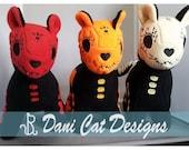 Red, Orange, Yellow Sugar Skull Inspired Kitty Plush