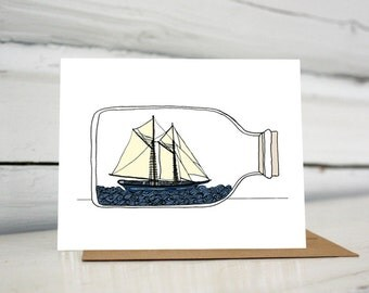Illustrated Ship in a Bottle greeting card