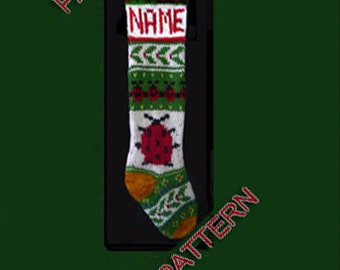 Hand knit Christmas stocking,  pattern only, ladybug and holly