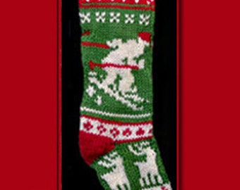 Hand knit Christmas stocking,  Personalized, made of pure wool yarn,  fully lined -- skier, reindeer and snowflake