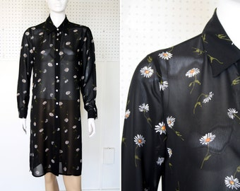Extra Long Sheer Woman's Vintage Black White and Yellow Daisy Print Floral Tunic Blouse Top