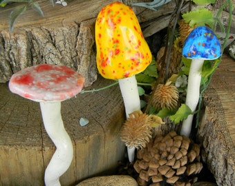 3 Fairy mushrooms  hand crafted ceramic toadstools   Home Grown  Shrooms Mix-   ground stakes  Crystal Glaze