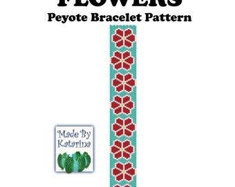 Peyote Pattern - Flowers - INSTANT DOWNLOAD PDF - Peyote Stitch Bracelet Pattern - Flower Pattern - One Drop Even Peyote - Peyote Flower