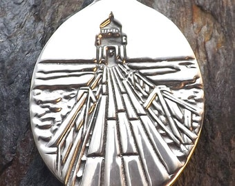 Lighthouse - Marshall Point - Port Clyde, Maine - Pewter Pendant - Seaside, Ocean Jewelry