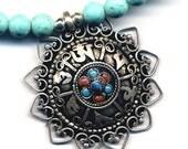 Nepal Astamangala Dharma Wheel Mandala Pendant, Buddhist Necklace, Nepal Mandala Necklace, Handmade Nepal Jewelry by AnnaArt72