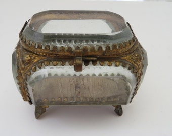 Antique French Cut Glass and Embossed Gold Metal Vitrine Jewelry Casket Trinket Box