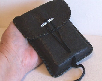 Leather Tarot Bag / Medicine Bag...MEDIUM Vertical Flap...BLACK