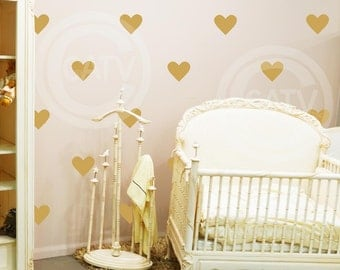 """Set of 18 - 6"""" Hearts YOU CHOOSE COLOR Wall Pattern Decal Sticker self adhesive"""