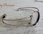 20mm Cuff Bracelet Setting / Blank Bezel Trays Antique Silver