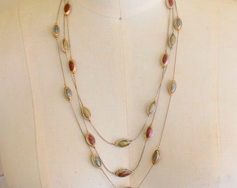 Vintage Necklace Multi Strand Beaded Enameled