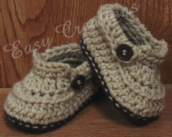 PDF CROCHET PATTERN Baby Boy Slip-On Shoes Newborn to 6 month booties loafers